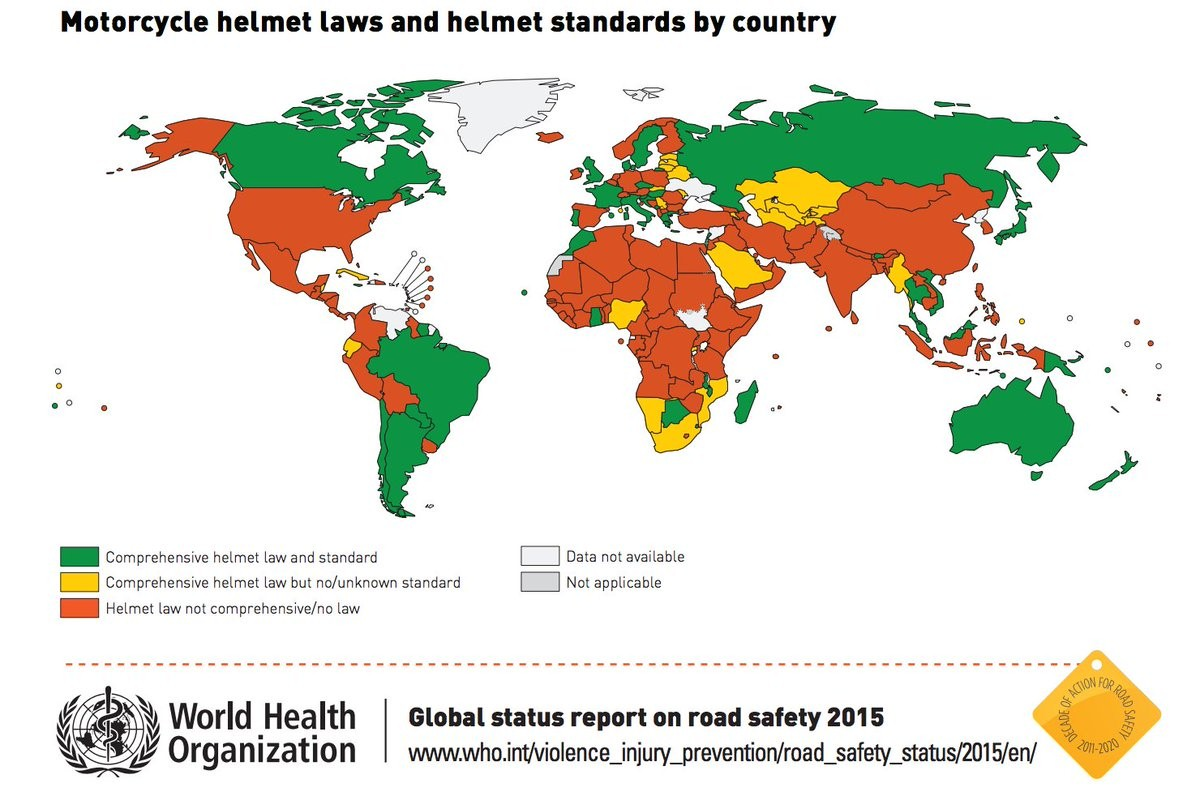 Motorcycle Helmet Law by Country